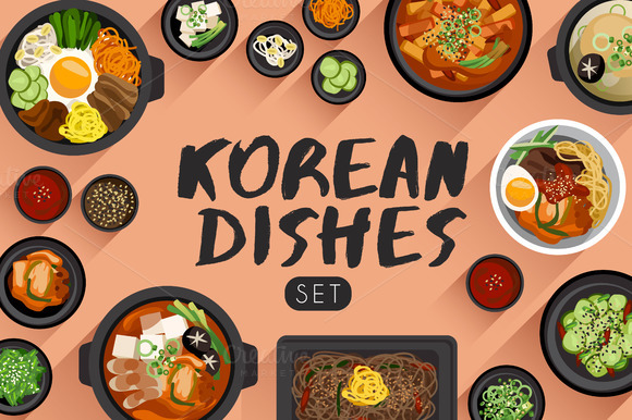 big set of korean cuisine objects on creative market. Black Bedroom Furniture Sets. Home Design Ideas
