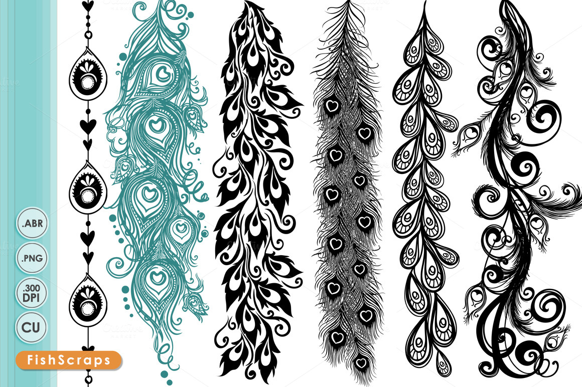 Peacock Borders - Decorative Brushes ~ Brushes on Creative Market