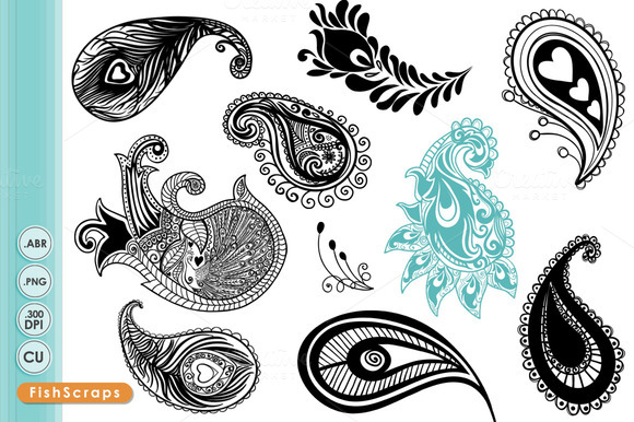 Peacock Paisley Clip Art Brushes Illustrations On