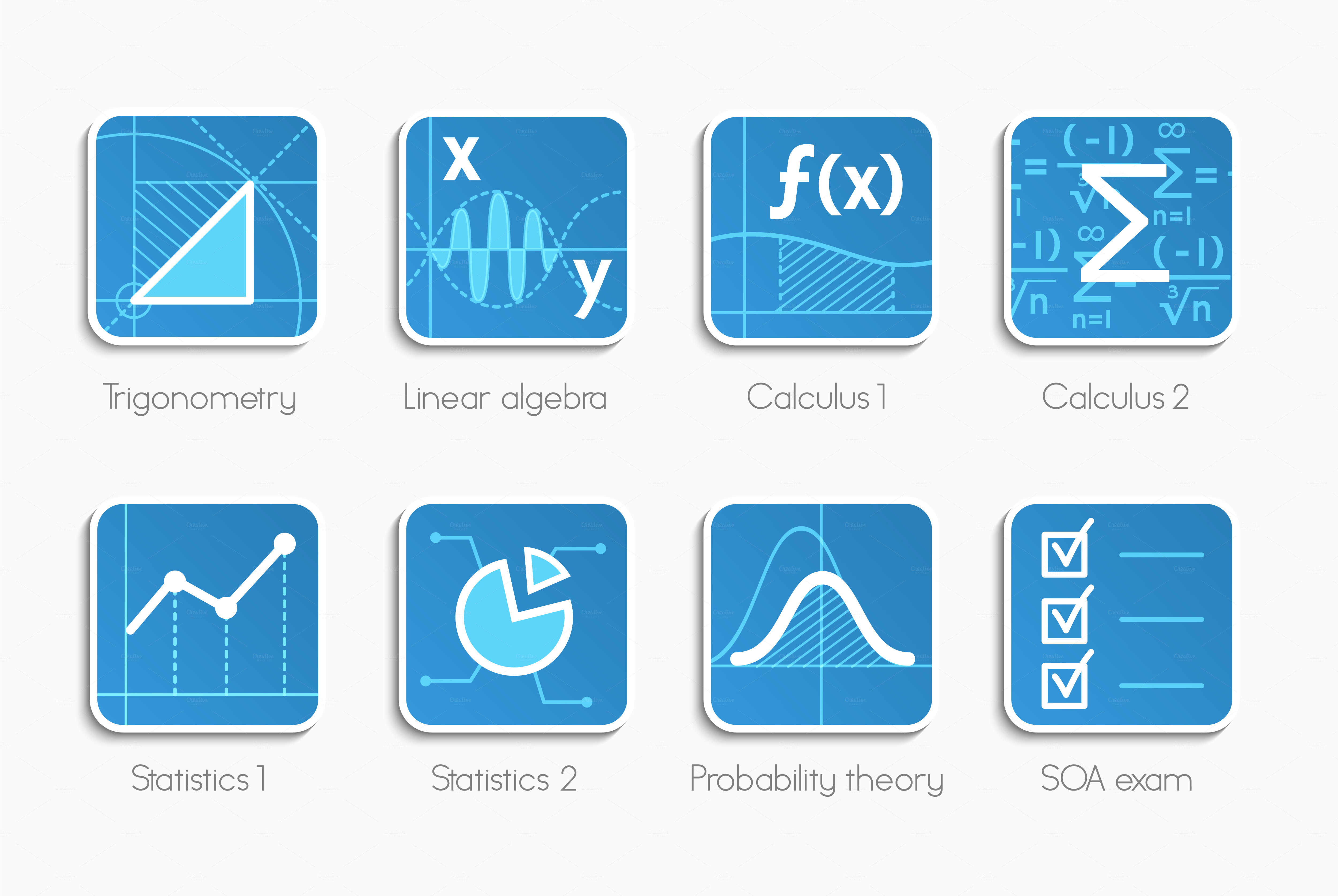 vector set of math icons