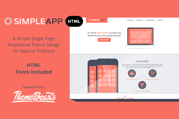 SimpleApp - App Landing Page - Bootstrap - 1