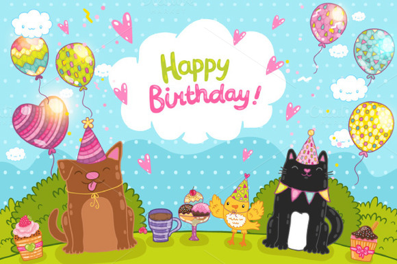 Happy Birthday. Cute animals - Illustrations