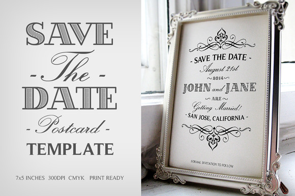 Free vintage save the date postcard template psd for Vintage save the date templates free