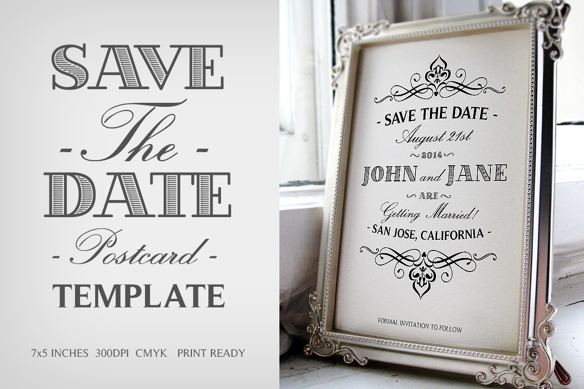 Save The Date Postcard Template V1   Invitation Templates on Creative Zs9uTALK
