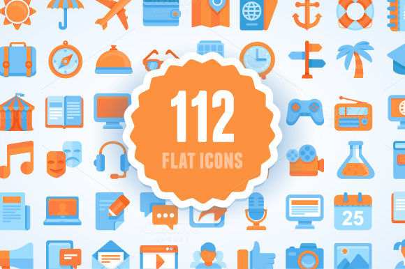 Flat set. 112 vector icons, 7 themes - Icons