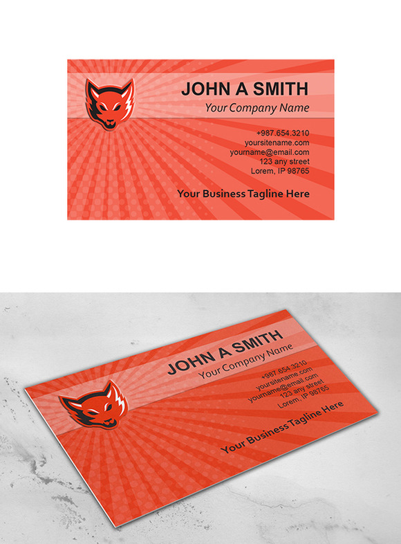 business card template red fox head business card templates on creative market. Black Bedroom Furniture Sets. Home Design Ideas