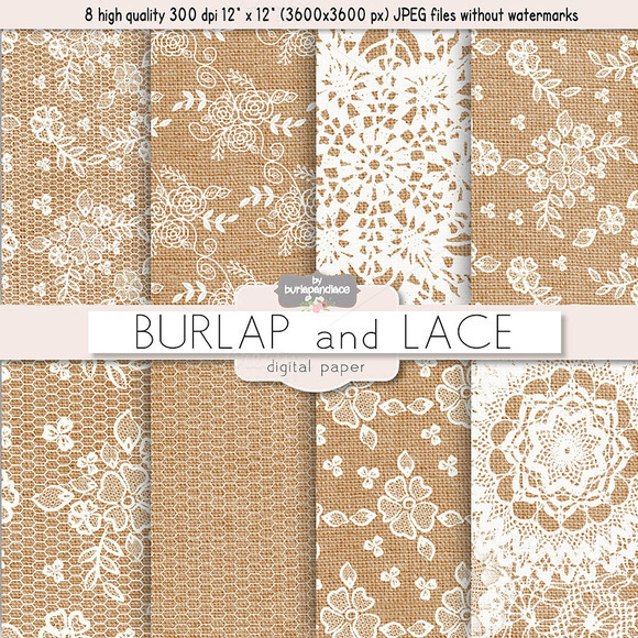 burlap and lace digital paper patterns on creative market. Black Bedroom Furniture Sets. Home Design Ideas