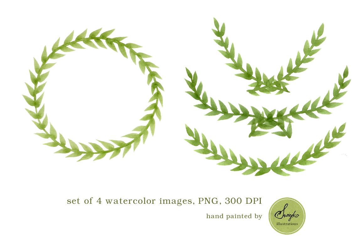 Watercolor frames clip art foliage illustrations on for Watercolor greenery