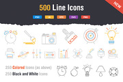 500 Outstanding Line Icons-Graphicriver中文最全的素材分享平台