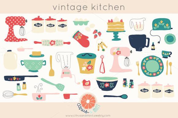 Vintage Kitchen Clip Art Illustrations On Creative Market