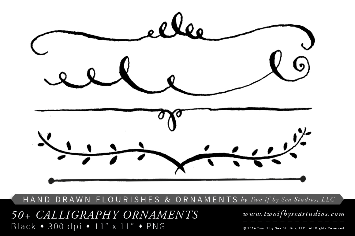 Hand drawn calligraphy ornaments illustrations on