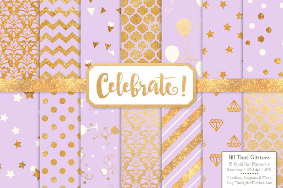 Lavender Gold Foil Digital Papers