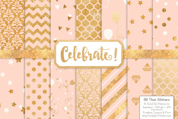 Peach Gold Foil Digital Papers