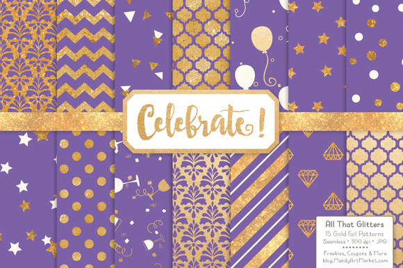 Gold Foil Digital Papers In Purple