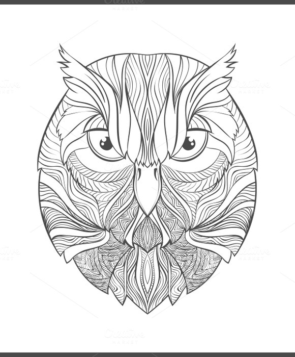 Coloring For Print With Owl