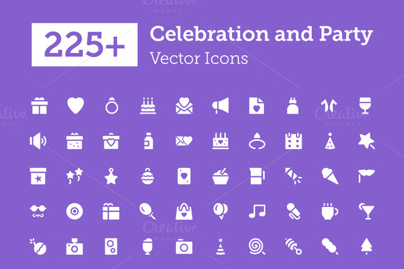 225 Celebration And Party Icons