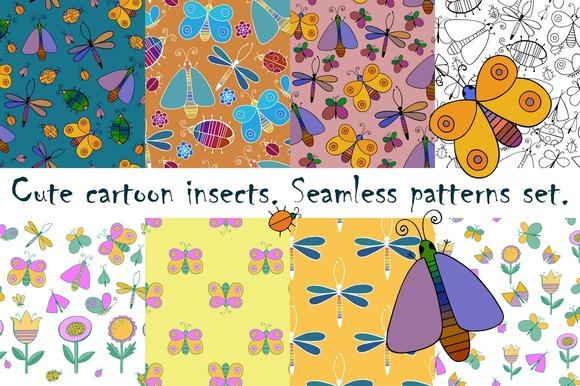Cartoon insects. Patterns set.  - Patterns