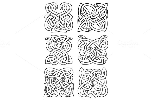 Gothic Celtic Snakes Knot Patterns