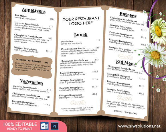 Food menu template brochure templates on creative market for French brochure template