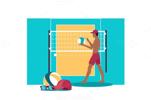 Beach Volleyball Sport Concept