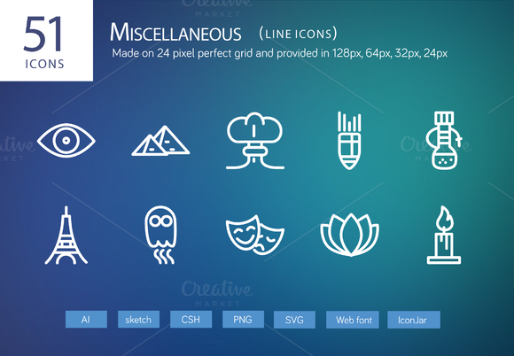 51 Miscellaneous Line Icons