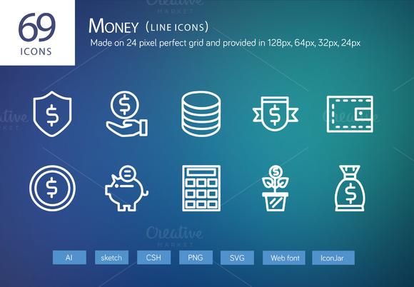 69 Money Line Icons