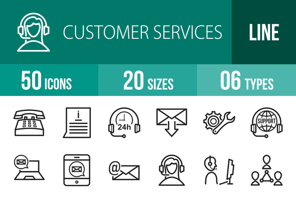 50 Customer Services Line Icons