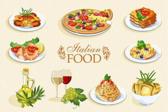 Set Of Italian Food Icons Cuisine