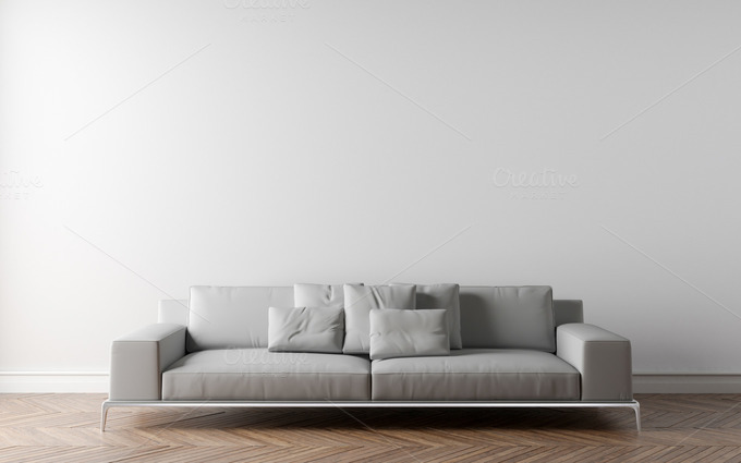 White wall and sofa architecture photos on creative market for What to do with a blank wall