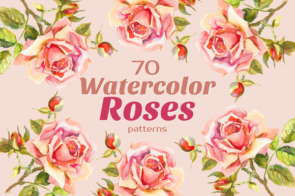 Watercolor Spring ROSES 70 Patterns