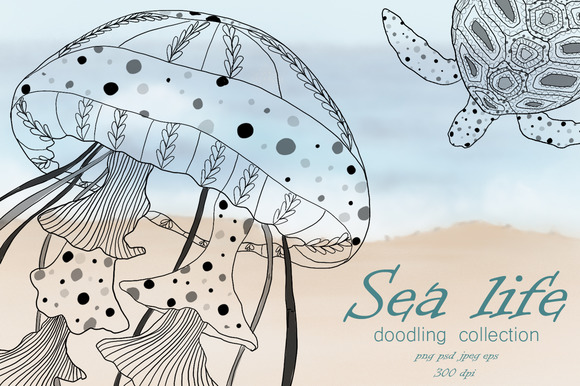 Sea life. Doodling collection. - Objects