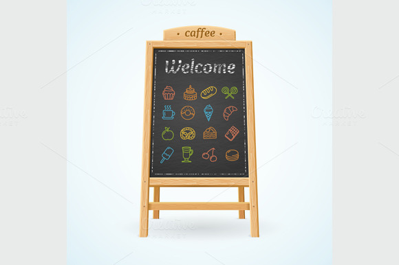 Menu Black Board. Vector - Illustrations