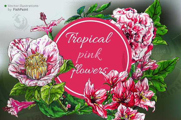 Pink Watercolor Vector Flowers