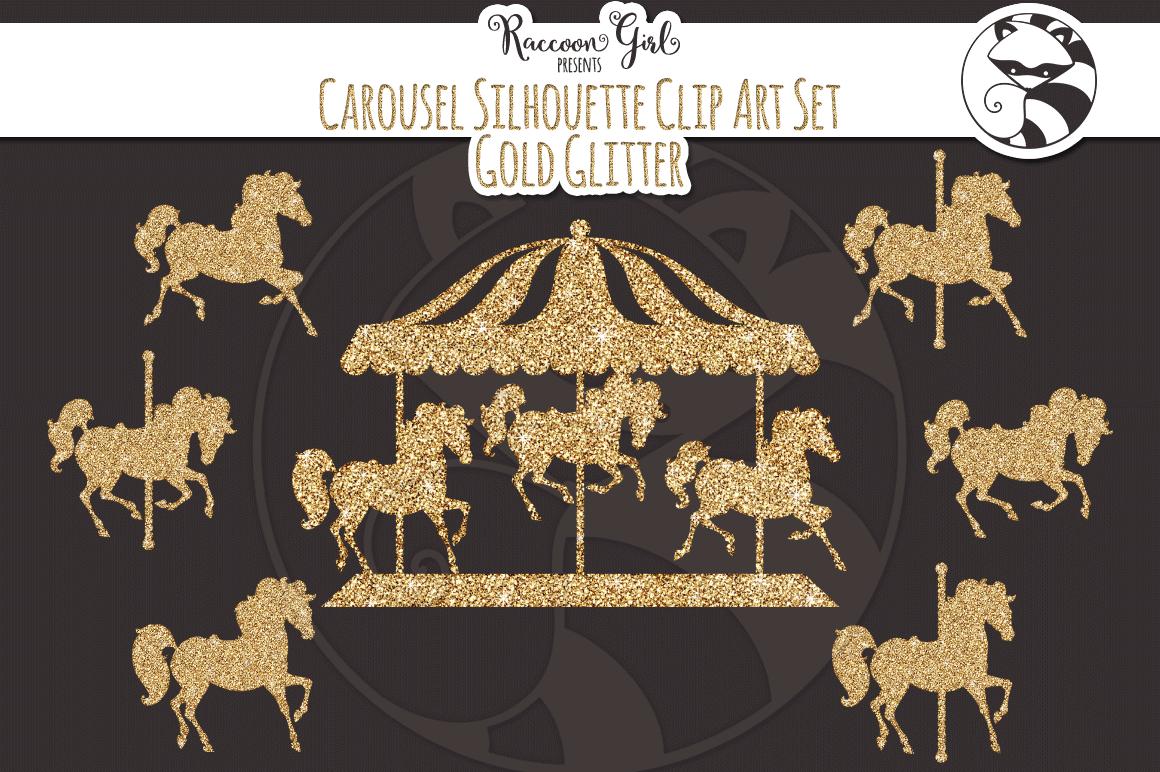 gold glitter carousel clip art set