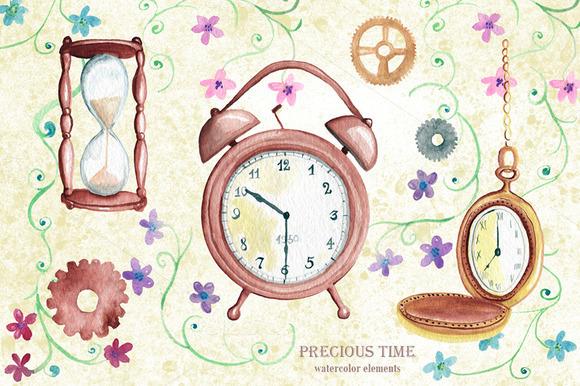 Watercolor Time Elements Vintage