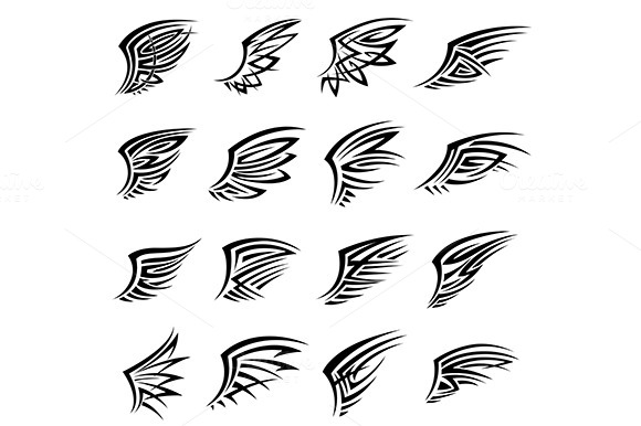 Black Tribal Wings Tattoo Designs