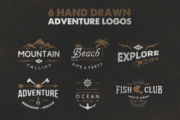 hand drawn adventure logos logo templates on creative market