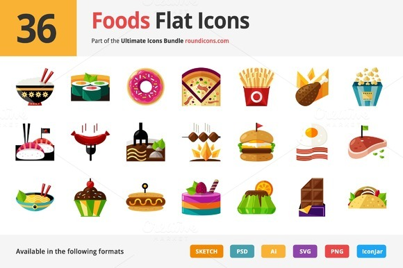 36 Foods Flat Icons