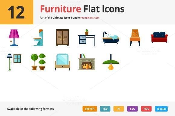 12 Furniture Flat Icons