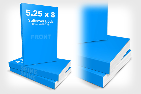 5.25 x 8 Softcover Book Stack Mockup - Product Mockups