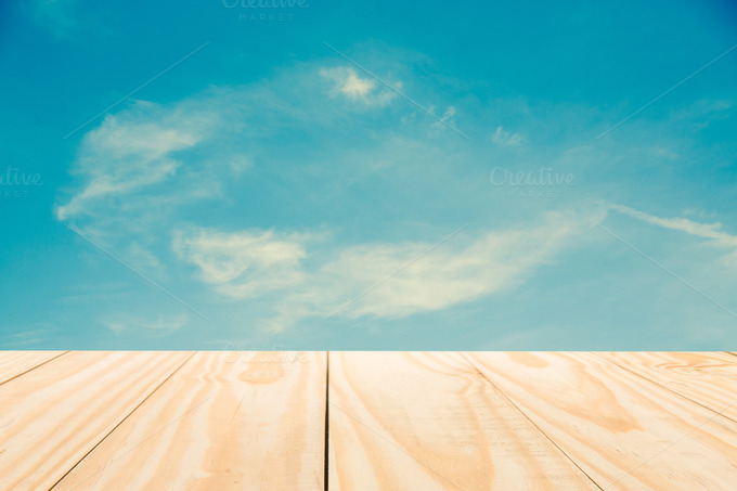 Sky With Wood Table Top