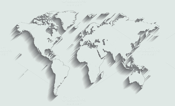 World Map White With Shadow