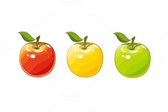Ripe juicy apple. Set of vector illustration. - Illustrations