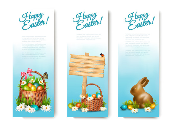 Tree Happy Easter Banners
