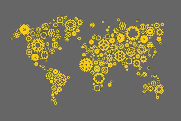World Map Made Of Machine Gears