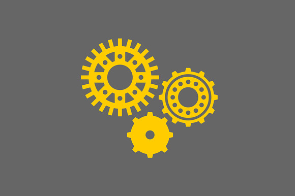 Icon Set Of Machine Gear
