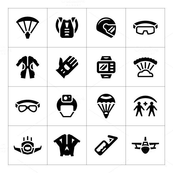 Set Icons Of Parachute