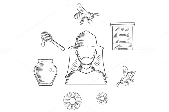 Beekeeping And Apiary Sketch Icons