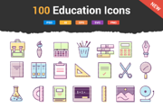 100 Education & School Icon-Graphicriver中文最全的素材分享平台