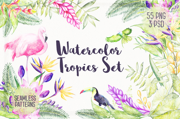 Watercolor Tropical Plants 30 % OFF